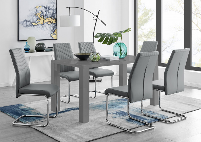 Pivero Grey High Gloss Dining Table and 6 Lorenzo Dining Chairs