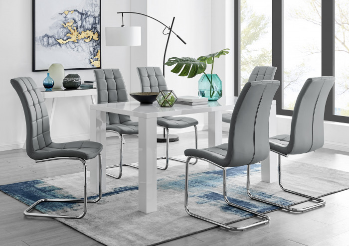 Pivero White High Gloss Dining Table And 6 Murano Chairs Set