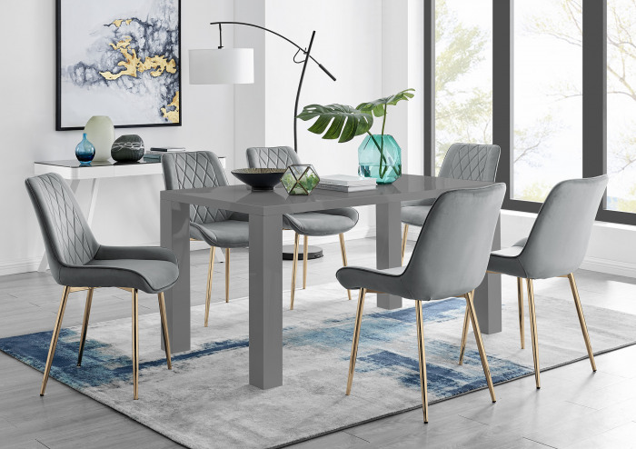 Pivero 6 Grey Dining Table and 6 Pesaro Gold Leg Chairs