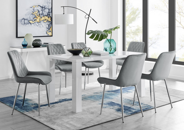 Pivero 6 White Dining Table and 6 Pesaro Silver Leg Chairs