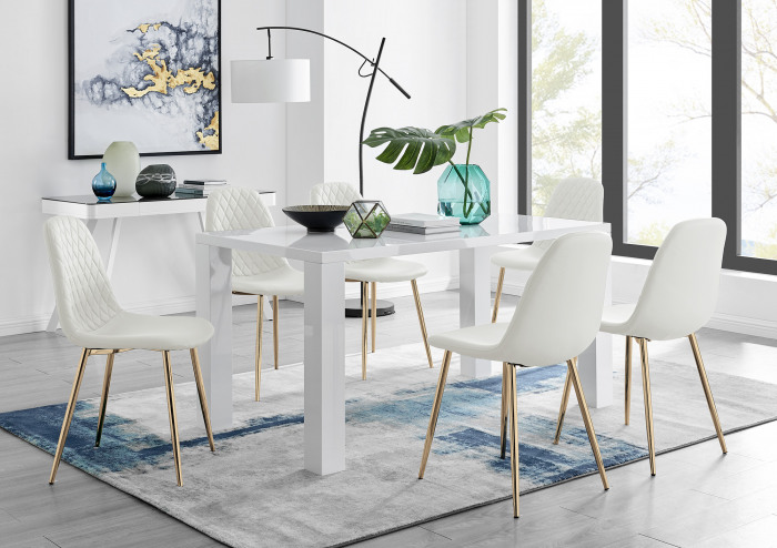 Pivero White High Gloss Dining Table And 6 Corona Gold Chairs Set