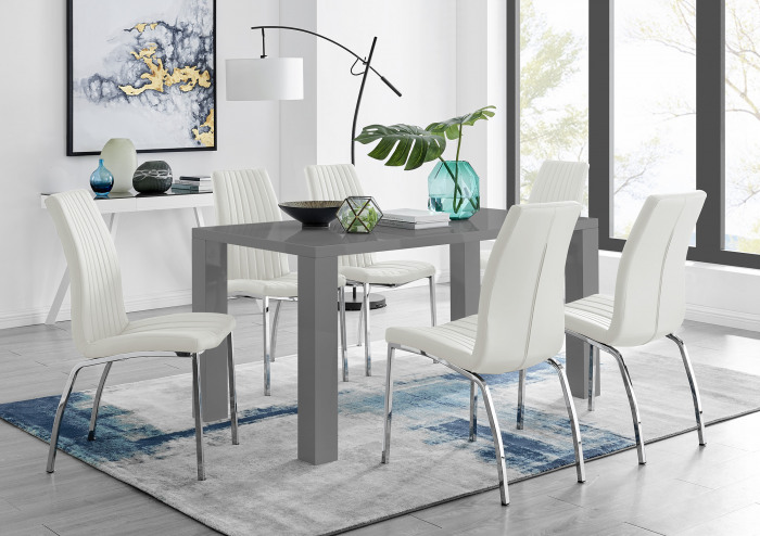 Pivero Grey High Gloss Dining Table And 6 Isco Chairs Set