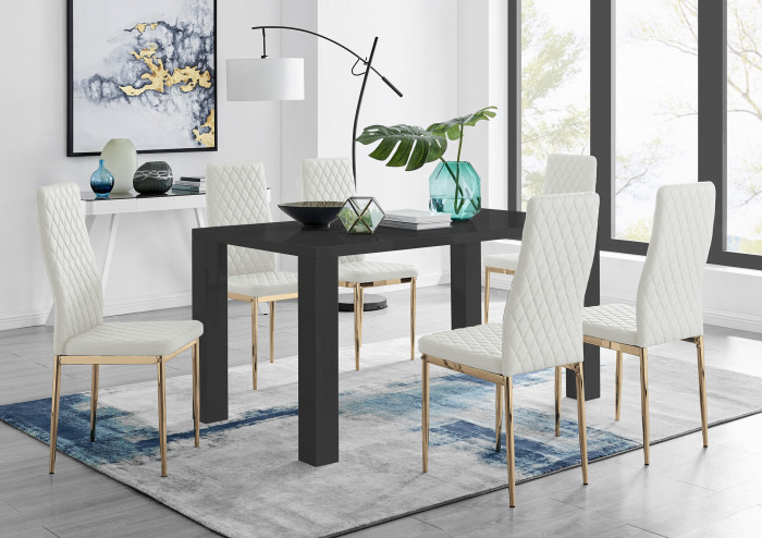 Pivero 6 Black Dining Table and 6 Gold Leg Milan Chairs