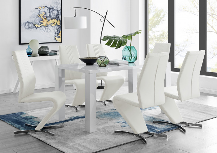 Pivero White High Gloss Dining Table And 6 Willow Chairs Set