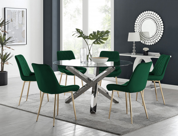 Vogue Round Dining Table and 6 Pesaro Gold Leg Chairs