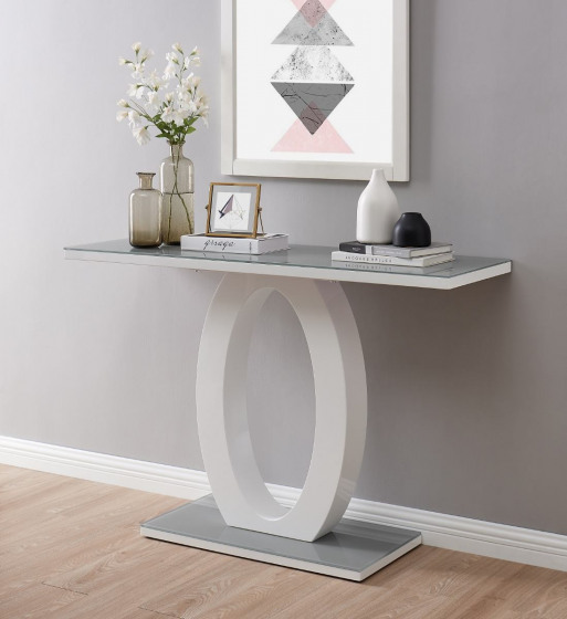 Giovani Modern Grey White Halo High Gloss Glass Console Table