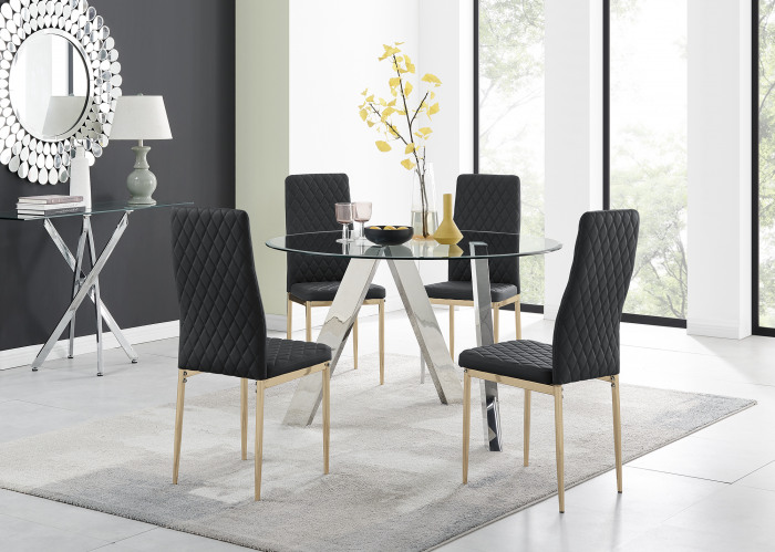 Lugano Round Dining Table and 4 or 6 Gold Leg Milan Chairs