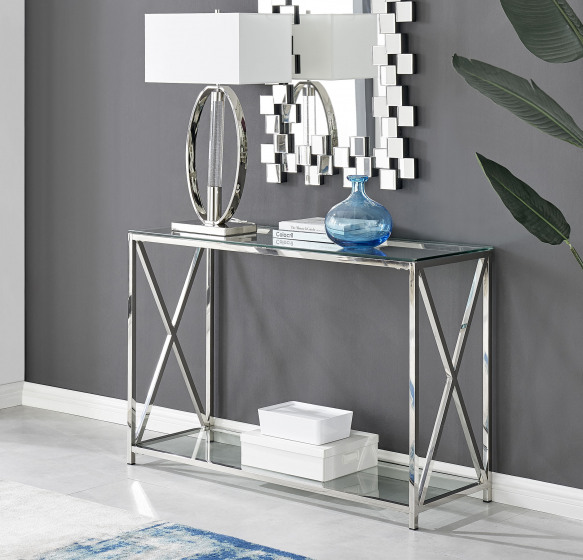 Regent Glass and Chrome Cross End Console Table