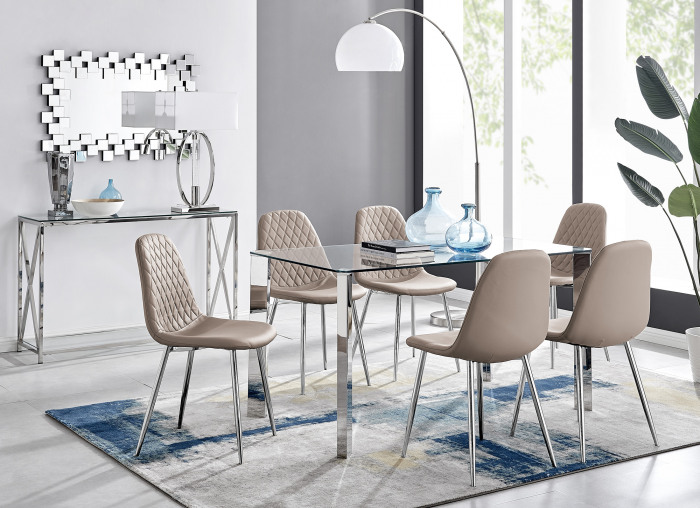 Lucia 6 Rectangular Dining Table and 6 Corona Silver Leg Chairs
