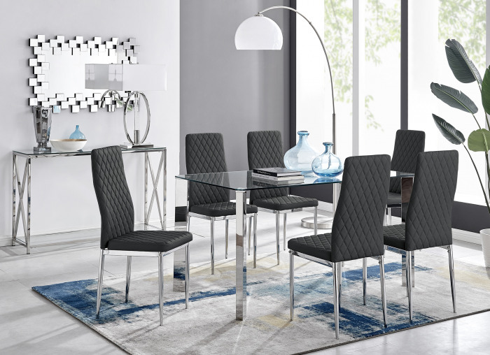 Lucia 6 Glass Chrome Table And 6 Modern Milan Chairs Set