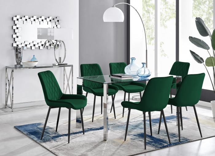 Lucia 6 Rectangular Dining Table and 6 Pesaro Black Leg Chairs