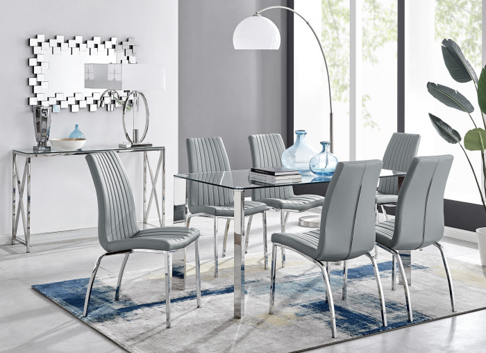Lucia 6 Rectangular Dining Table and 6 Isco Chairs
