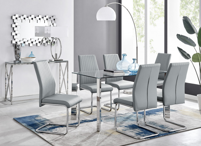 Lucia 6 Glass Chrome Table And 6 Modern Lorenzo Chairs Set