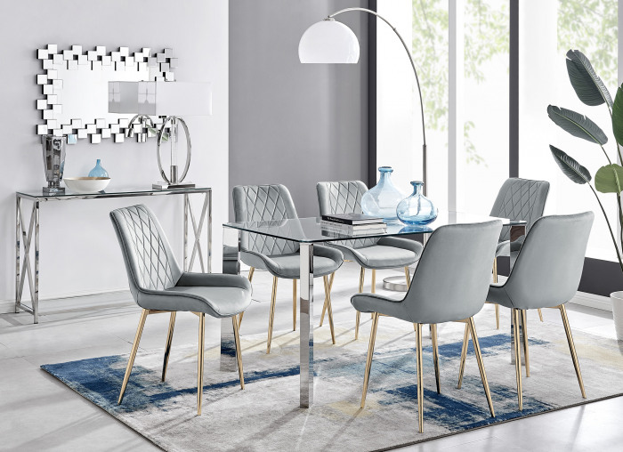 Lucia 6 Rectangular Dining Table and 6 Pesaro Gold Leg Chairs