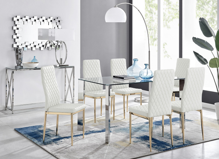Lucia 6 Rectangular Dining Table and 6 Gold Leg Milan Chairs