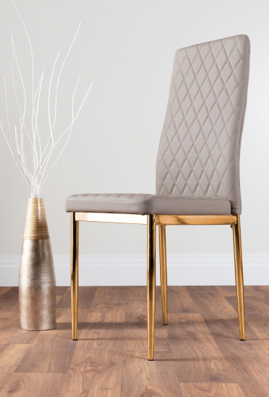 4x Milan Cappuccino Grey Gold Hatched Faux Leather Dining Chairs