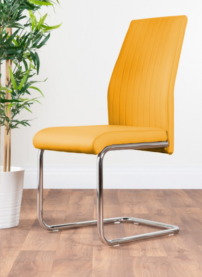 2x Lorenzo Mustard Yellow Faux Leather Chrome Dining Chairs