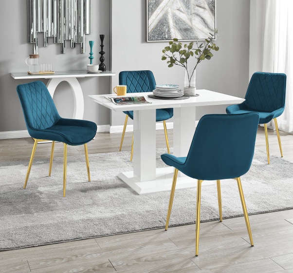 Imperia 4 White Dining Table and 4 Pesaro Gold Leg Chairs