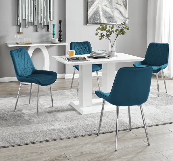 Imperia 4 White Dining Table and 4 Pesaro Silver Leg Chairs