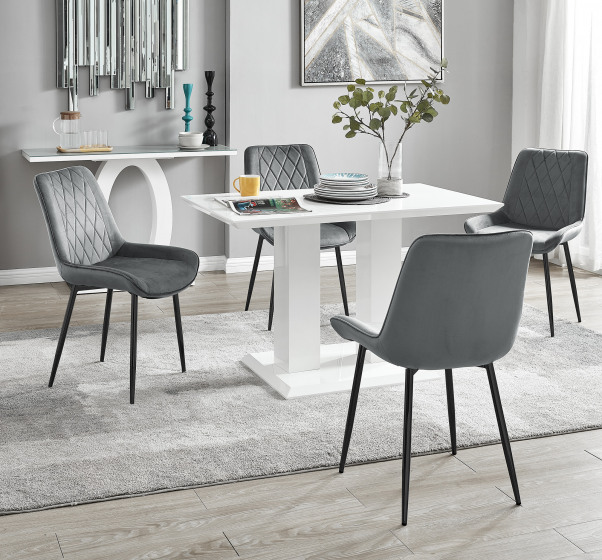 Imperia 4 White Dining Table and 4 Pesaro Black Leg Chairs