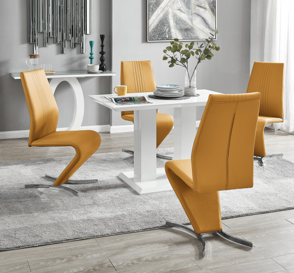 Imperia 4 Modern White High Gloss Dining Table And 4 Willow Chairs Set