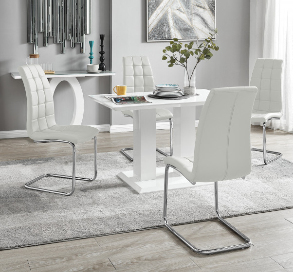 Imperia 4 Modern White High Gloss Dining Table And 4 Murano Chairs Set