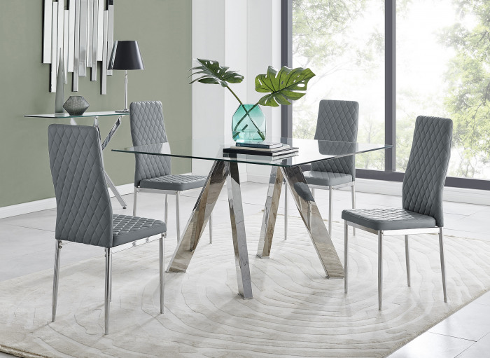 Lugano Square Dining Table & 4 Milan Chairs