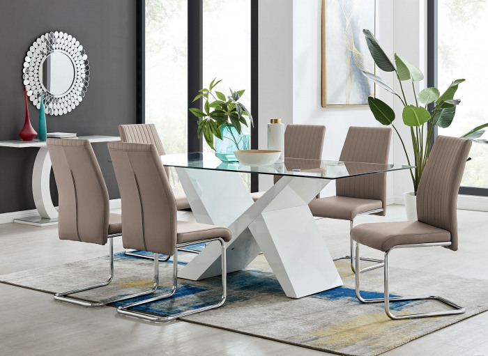Torino White High Gloss And Glass Modern Dining Table And 6 Lorenzo Chairs Set