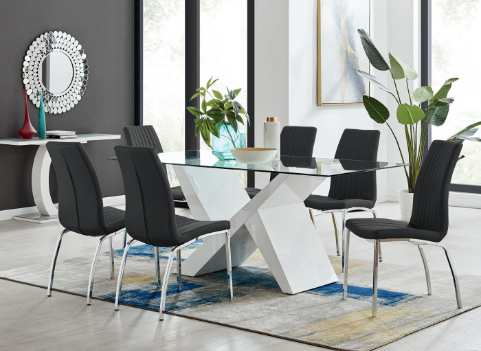 Torino Large Rectangular Dining Table and 6/8 Isco Chairs