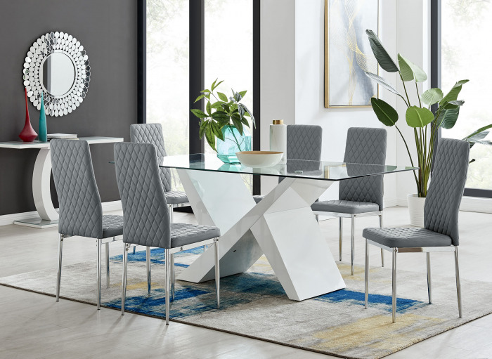 Torino White High Gloss And Glass Modern Dining Table And 6/8 Milan Chairs Set