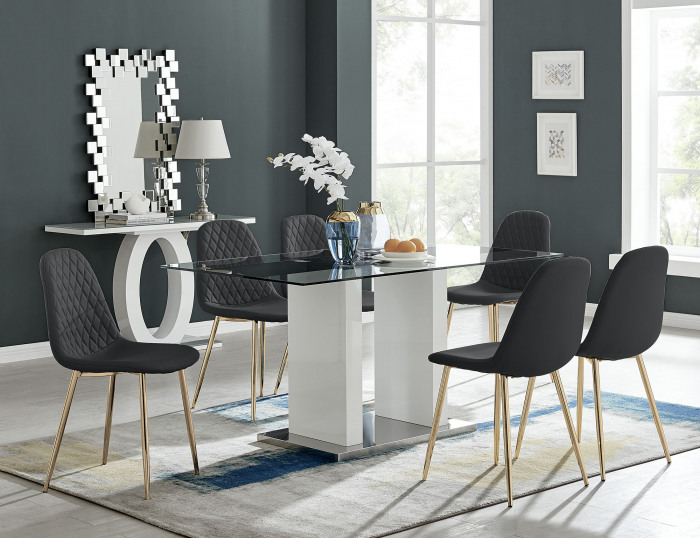Florence White High Gloss And Glass Dining Table With 6 Corona Gold Chairs Set
