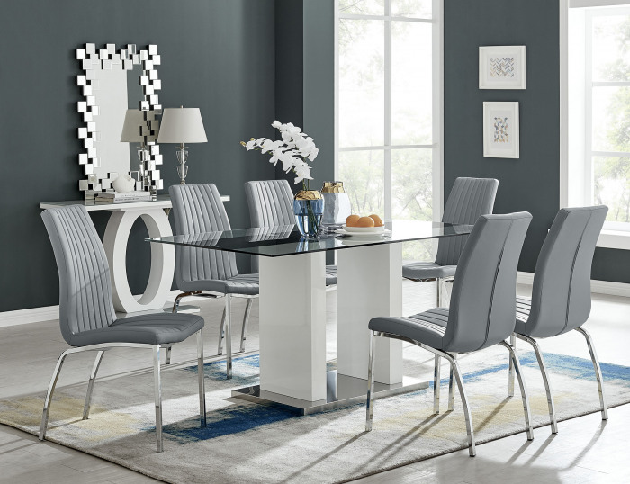 Florence White High Gloss And Glass Dining Table With 6 Isco Chairs Set