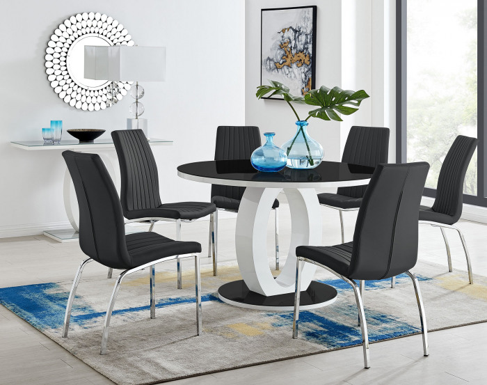Giovani High Gloss And Glass Large Round Dining Table And 4 or 6 Isco Chairs Set