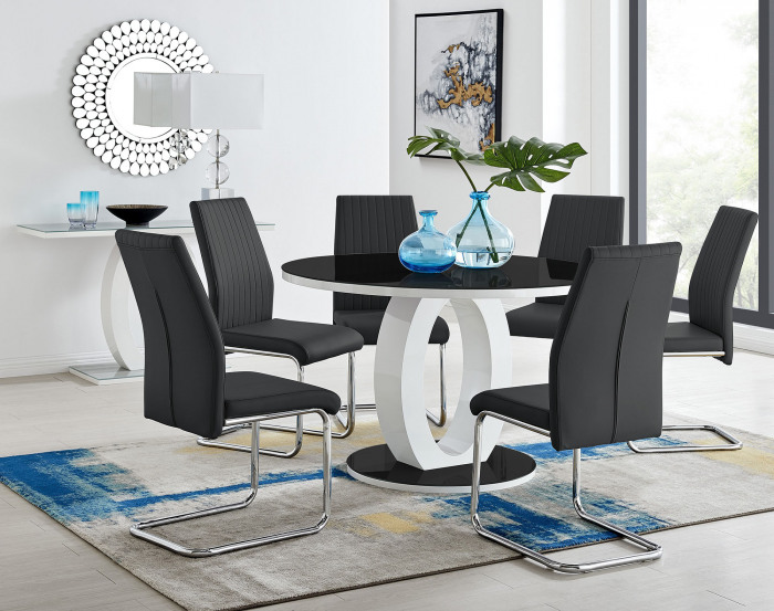 Giovani High Gloss And Glass Large Round Dining Table And 4 or 6 Lorenzo Chairs Set
