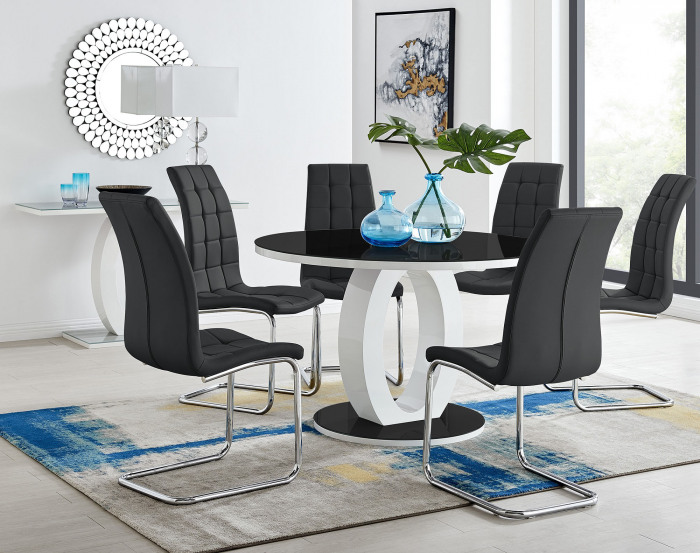 Giovani High Gloss And Glass Large Round Dining Table And 4 or 6 Luxury Murano Chairs Set