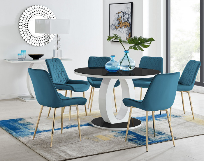 Giovani Round Black Large 120cm Table and 6 Pesaro Gold Leg Chairs