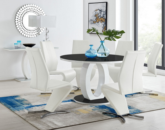 Giovani High Gloss And Glass Large Round Dining Table And 4 or 6 Luxury Willow Dining Chairs Set