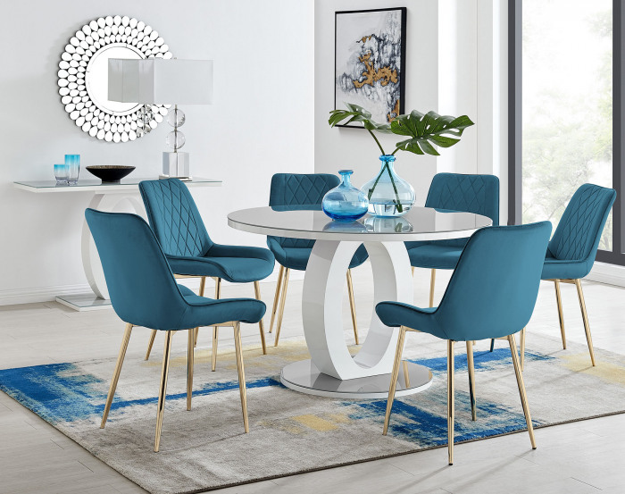 Giovani Round Grey Large 120cm Table and 6 Pesaro Gold Leg Chairs