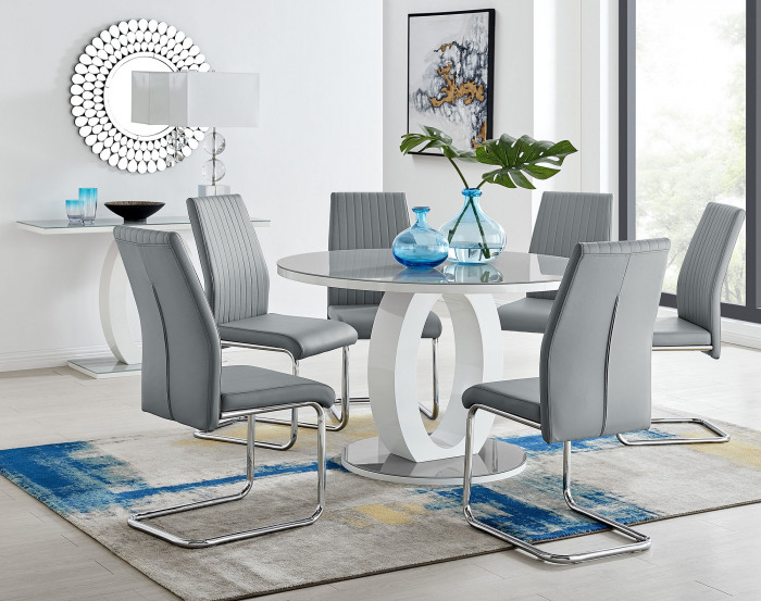 Giovani Grey White High Gloss And Glass Large Round Dining Table And 4 or 6 Lorenzo Chairs Set