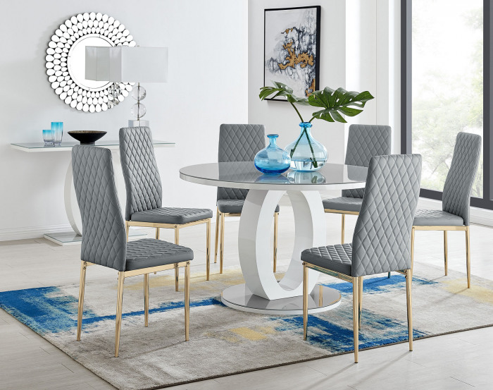 Giovani Round Grey Large 120cm Table and 6 Gold Leg Milan Chairs