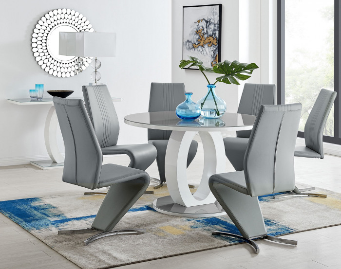 Giovani Grey White High Gloss And Glass Large Round Dining Table And 4 or 6 Willow Chairs Set