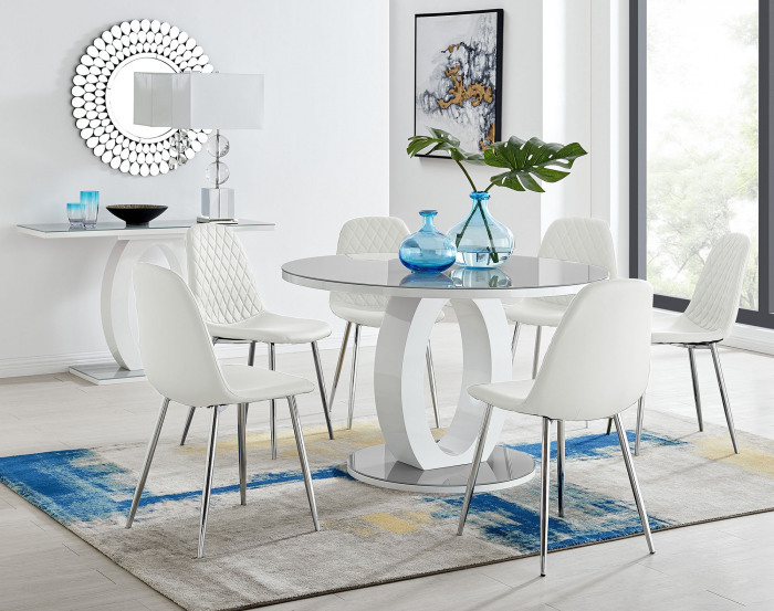 Giovani Grey White High Gloss And Glass Large Round Dining Table And 4 or 6 Corona Silver Chairs Set