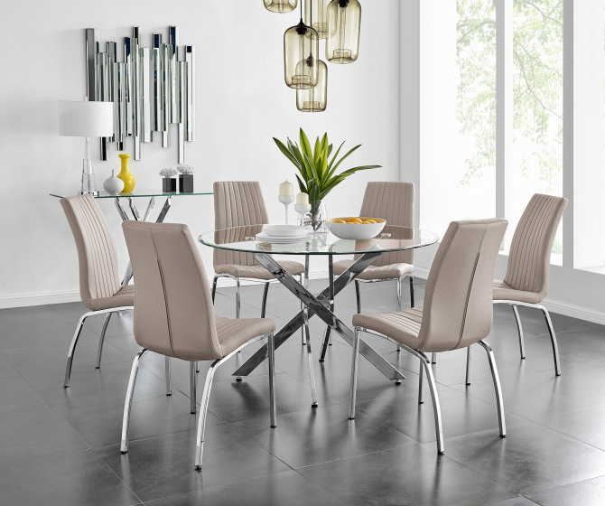 Novara Chrome Metal And Glass Large 120cm Round Dining Table And 4 or 6 Isco Chairs Set