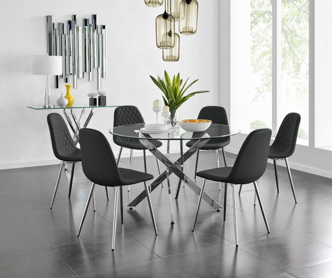 Novara Chrome Metal And Glass Large 120cm Round Dining Table And 4 or 6 Corona Silver Chairs Set