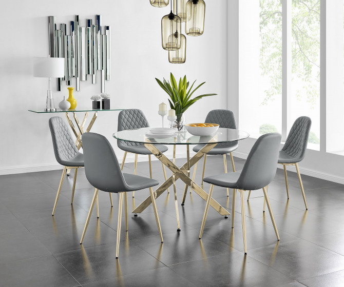 Novara Gold Metal 120cm Large Round Dining Table And 4 or 6 Corona Gold Chairs Set