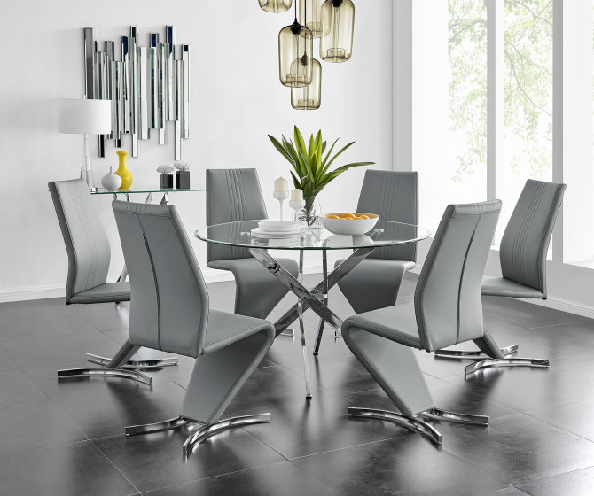 Novara Chrome Metal And Glass Large 120cm Round Dining Table And 4 or 6 Willow Chairs Set