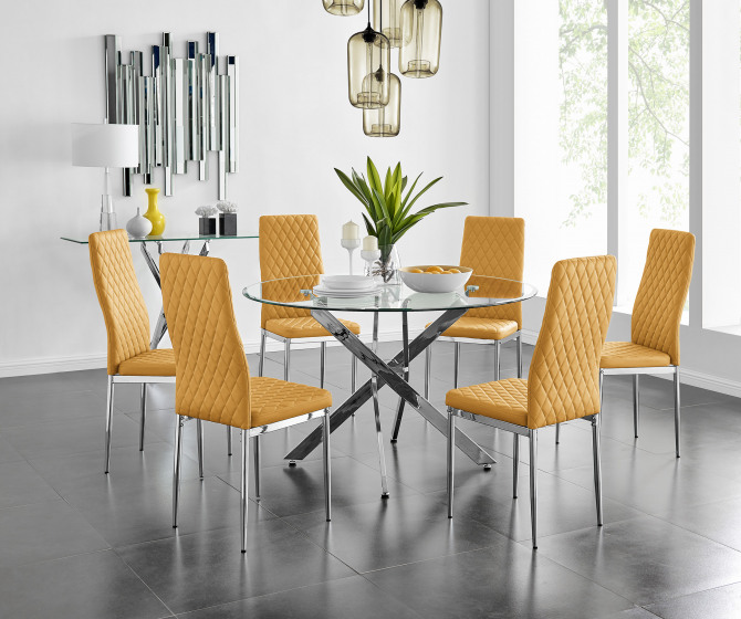 Novara Chrome Metal And Glass Large 120cm Round Dining Table And 4 or 6 Milan Chairs Set