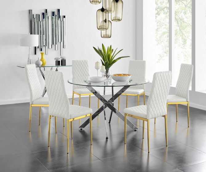 Novara 120cm Round Dining Table and 6 Gold Leg Milan Chairs