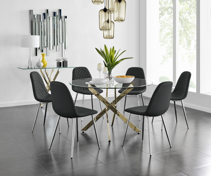 Novara Gold Metal Large 120cm Round Dining Table And 4 or 6 Corona Silver Chairs Set