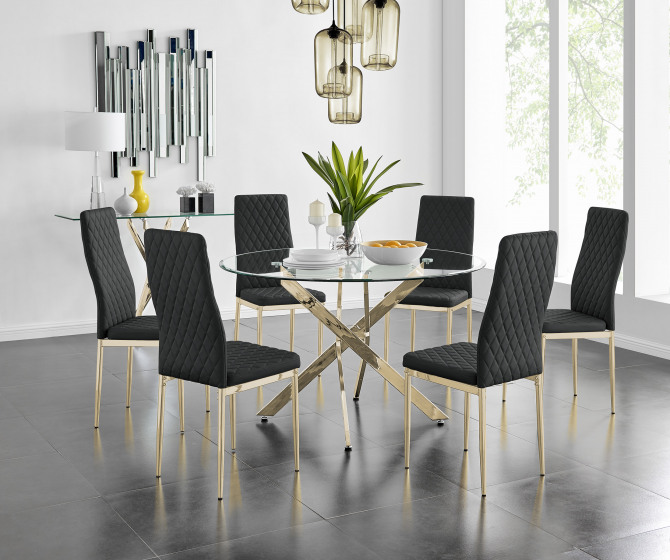 Novara 120cm Gold Round Dining Table and 4 or 6 Gold Leg Milan Chairs